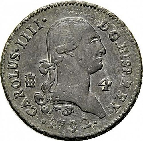 4 Maravedies Obverse Image minted in SPAIN in 1792 (1788-08  -  CARLOS IV)  - The Coin Database