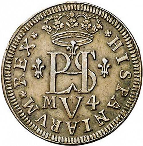 4 Maravedies Obverse Image minted in SPAIN in 1710 (1700-46  -  FELIPE V)  - The Coin Database