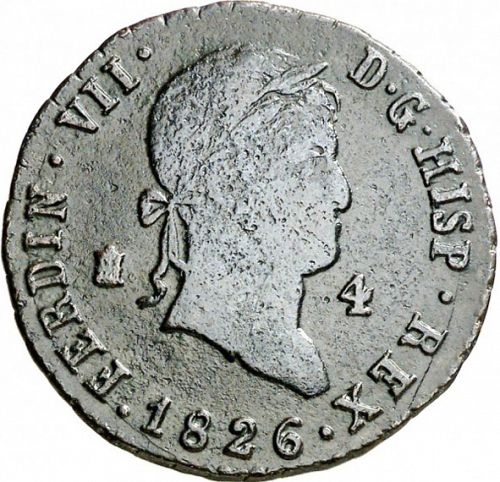 4 Maravedies Obverse Image minted in SPAIN in 1826 (1808-33  -  FERNANDO VII)  - The Coin Database