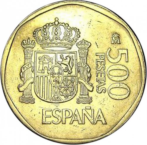 500 Pesetas Reverse Image minted in SPAIN in 1988 (1982-01  -  JUAN CARLOS I - New Design)  - The Coin Database