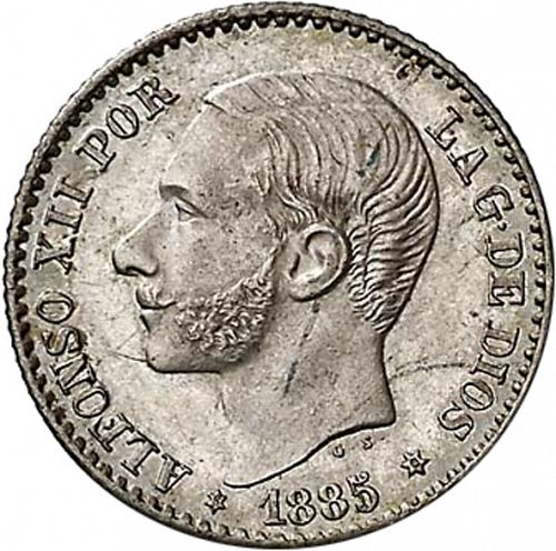 50 Céntimos Obverse Image minted in SPAIN in 1885 / 86 (1874-85  -  ALFONSO XII)  - The Coin Database