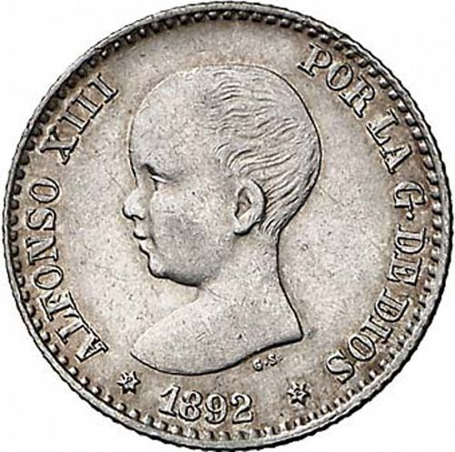 50 Céntimos Obverse Image minted in SPAIN in 1892 / 92 (1886-31  -  ALFONSO XIII)  - The Coin Database