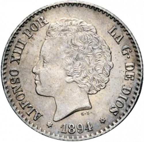 50 Céntimos Obverse Image minted in SPAIN in 1894 / 94 (1886-31  -  ALFONSO XIII)  - The Coin Database