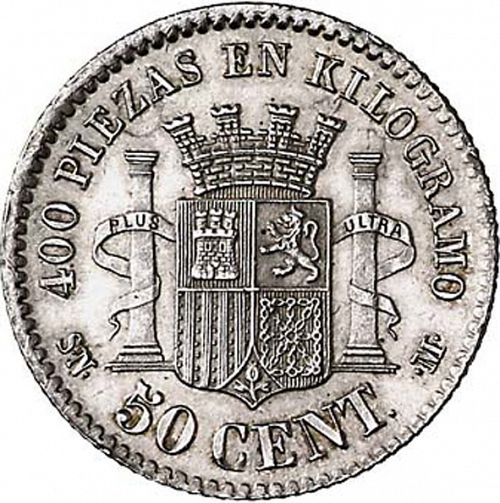 50 Céntimos Reverse Image minted in SPAIN in 1869 / 70 (1868-70  -  PROVISIONAL GOVERNMENT)  - The Coin Database