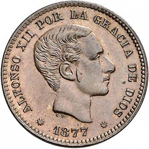 5 Céntimos Obverse Image minted in SPAIN in 1877OM (1874-85  -  ALFONSO XII)  - The Coin Database