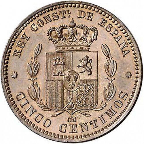 5 Céntimos Reverse Image minted in SPAIN in 1877OM (1874-85  -  ALFONSO XII)  - The Coin Database