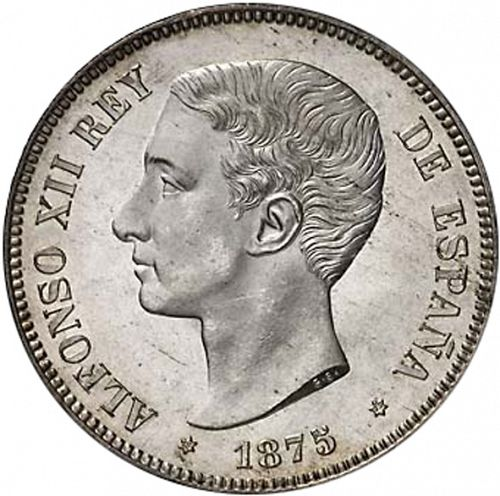 5 Pesetas Obverse Image minted in SPAIN in 1875 / 75 (1874-85  -  ALFONSO XII)  - The Coin Database