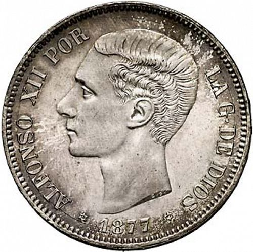 5 Pesetas Obverse Image minted in SPAIN in 1877 / 77 (1874-85  -  ALFONSO XII)  - The Coin Database