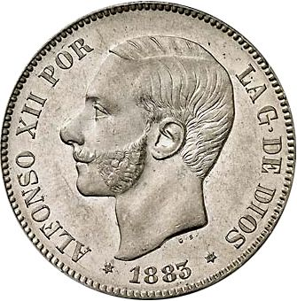 5 Pesetas Obverse Image minted in SPAIN in 1883 / 83 (1874-85  -  ALFONSO XII)  - The Coin Database