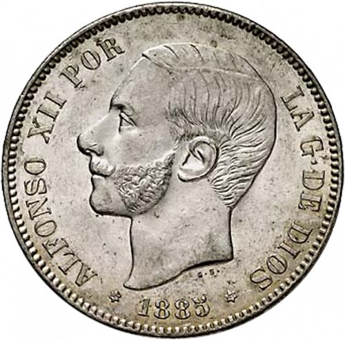 5 Pesetas Obverse Image minted in SPAIN in 1885 / 87 (1874-85  -  ALFONSO XII)  - The Coin Database