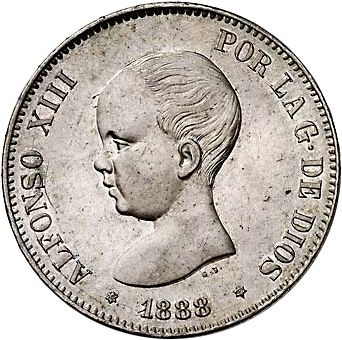 5 Pesetas Obverse Image minted in SPAIN in 1888 / 88 (1886-31  -  ALFONSO XIII)  - The Coin Database