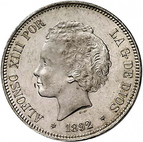 5 Pesetas Obverse Image minted in SPAIN in 1892 / 92 (1886-31  -  ALFONSO XIII)  - The Coin Database