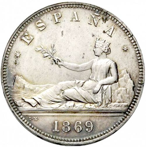 5 Pesetas Obverse Image minted in SPAIN in 1869 / 69 (1868-70  -  PROVISIONAL GOVERNMENT)  - The Coin Database