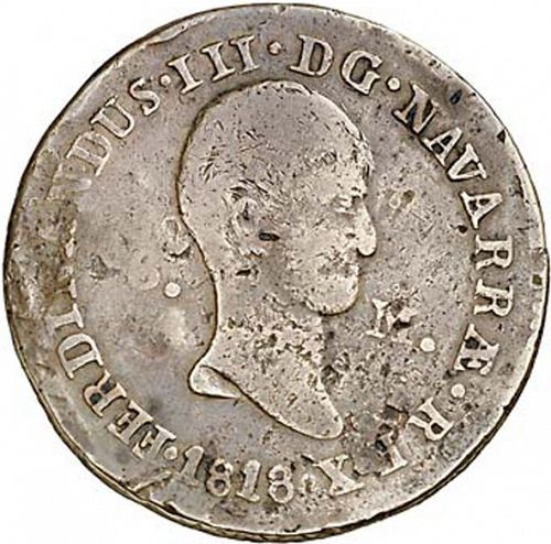 6 Maravedies Obverse Image minted in SPAIN in 1818 (1808-33  -  FERNANDO VII)  - The Coin Database