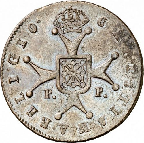 6 Maravedies Reverse Image minted in SPAIN in 1819 (1808-33  -  FERNANDO VII)  - The Coin Database