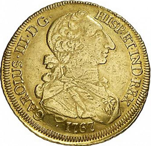 8 Escudos Obverse Image minted in SPAIN in 1767J (1759-88  -  CARLOS III)  - The Coin Database