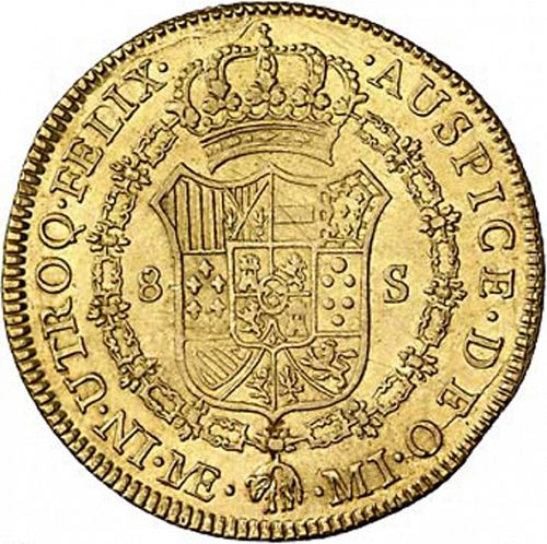 8 Escudos Reverse Image minted in SPAIN in 1787MI (1759-88  -  CARLOS III)  - The Coin Database