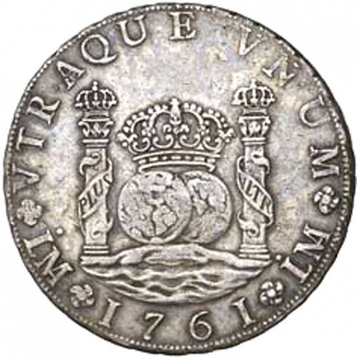 8 Reales Obverse Image minted in SPAIN in 1761JM (1759-88  -  CARLOS III)  - The Coin Database