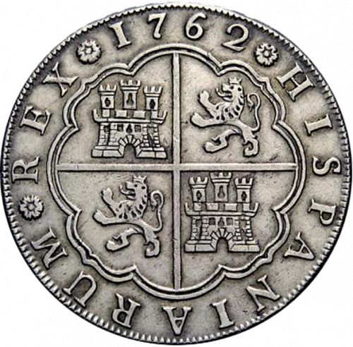 8 Reales Reverse Image minted in SPAIN in 1762JV (1759-88  -  CARLOS III)  - The Coin Database
