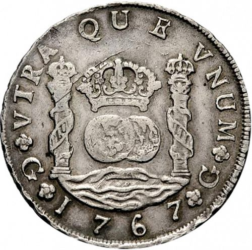 8 Reales Reverse Image minted in SPAIN in 1767P (1759-88  -  CARLOS III)  - The Coin Database