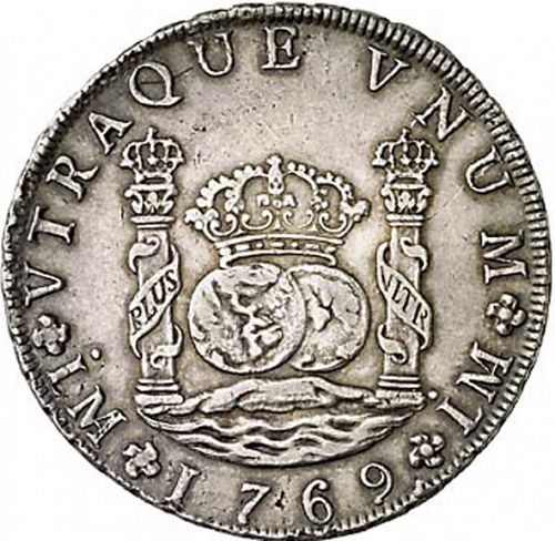 8 Reales Reverse Image minted in SPAIN in 1769JM (1759-88  -  CARLOS III)  - The Coin Database