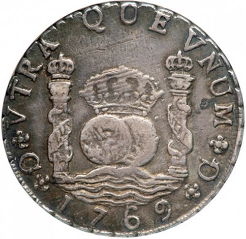 8 Reales Reverse Image minted in SPAIN in 1769P (1759-88  -  CARLOS III)  - The Coin Database