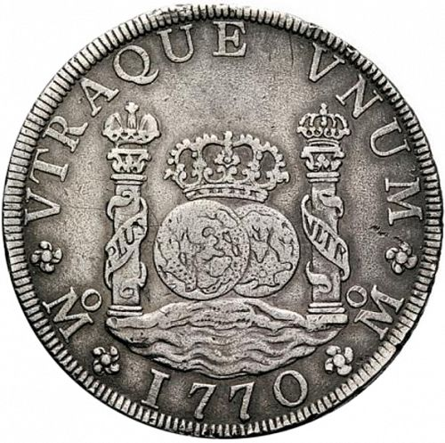 8 Reales Reverse Image minted in SPAIN in 1770FM (1759-88  -  CARLOS III)  - The Coin Database