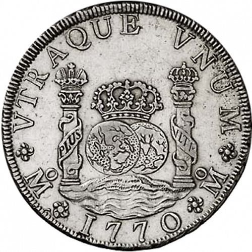 8 Reales Reverse Image minted in SPAIN in 1770MF (1759-88  -  CARLOS III)  - The Coin Database