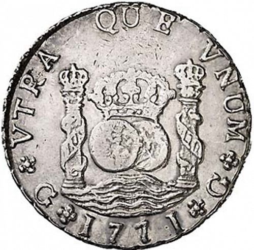 8 Reales Reverse Image minted in SPAIN in 1771P (1759-88  -  CARLOS III)  - The Coin Database
