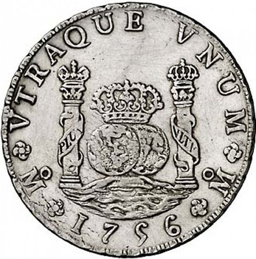 8 Reales Reverse Image minted in SPAIN in 1756MM (1746-59  -  FERNANDO VI)  - The Coin Database
