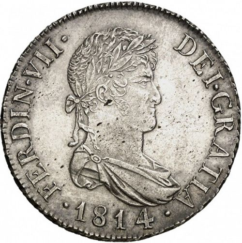 8 Reales Obverse Image minted in SPAIN in 1814SF (1808-33  -  FERNANDO VII)  - The Coin Database