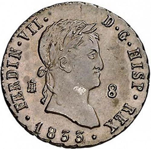 8 Maravedies Obverse Image minted in SPAIN in 1833 (1808-33  -  FERNANDO VII)  - The Coin Database