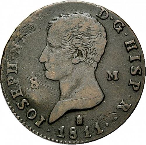 8 Marevedies Obverse Image minted in SPAIN in 1811 (1808-13  -  JOSE NAPOLEON)  - The Coin Database
