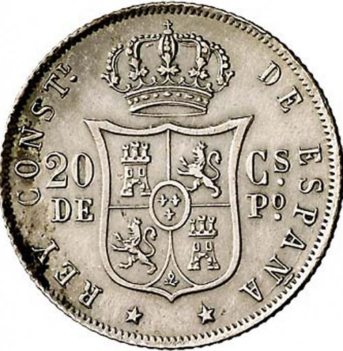 20 Centavos Peso Reverse Image minted in SPAIN in 1882 (1874-85  -  ALFONSO XII - Philippines)  - The Coin Database