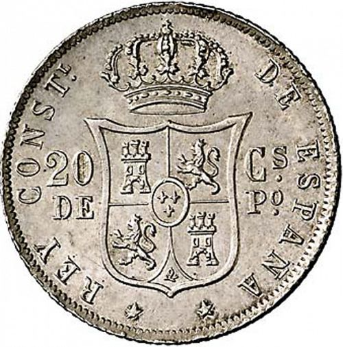 20 Centavos Peso Reverse Image minted in SPAIN in 1883 (1874-85  -  ALFONSO XII - Philippines)  - The Coin Database