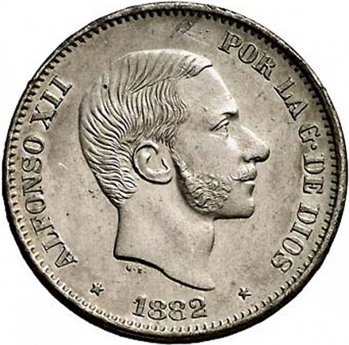 50 Centavos Peso Obverse Image minted in SPAIN in 1882 (1874-85  -  ALFONSO XII - Philippines)  - The Coin Database