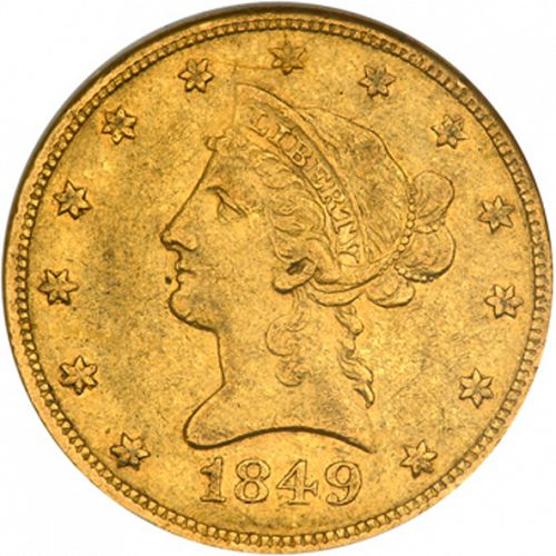10 dollar Obverse Image minted in UNITED STATES in 1849 (Coronet Head - New-style head, no motto)  - The Coin Database