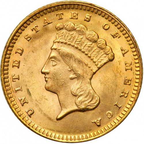 1 dollar - Gold Obverse Image minted in UNITED STATES in 1874 (Large Indian Head)  - The Coin Database