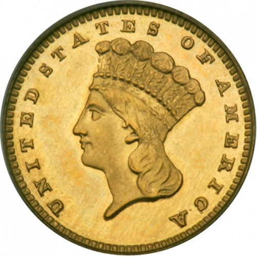 1 dollar - Gold Obverse Image minted in UNITED STATES in 1883 (Large Indian Head)  - The Coin Database