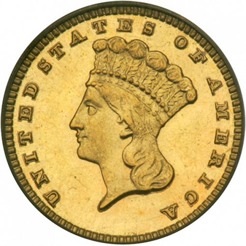1 dollar - Gold Obverse Image minted in UNITED STATES in 1884 (Large Indian Head)  - The Coin Database