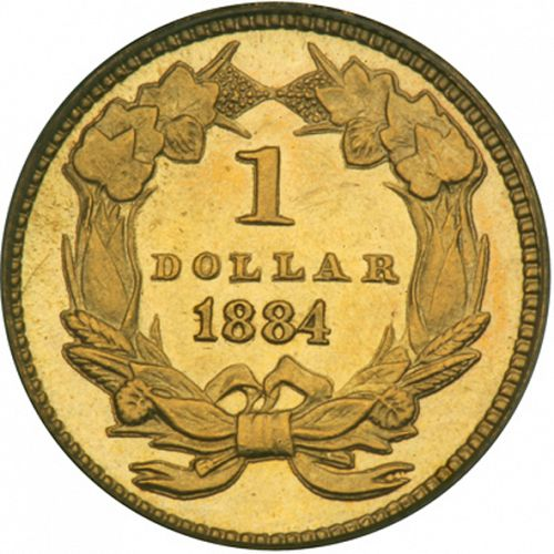 1 dollar - Gold Reverse Image minted in UNITED STATES in 1884 (Large Indian Head)  - The Coin Database