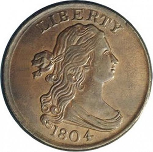half cent Obverse Image minted in UNITED STATES in 1804 (Draped Bust)  - The Coin Database