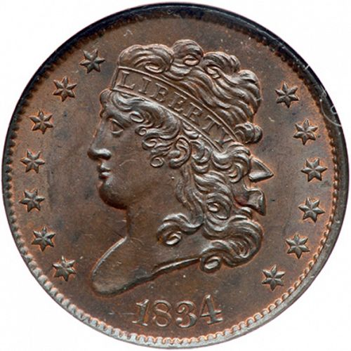 half cent Obverse Image minted in UNITED STATES in 1834 (Classic Head)  - The Coin Database
