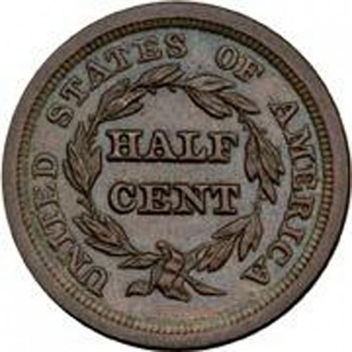 half cent Reverse Image minted in UNITED STATES in 1850 (Braided Hair)  - The Coin Database