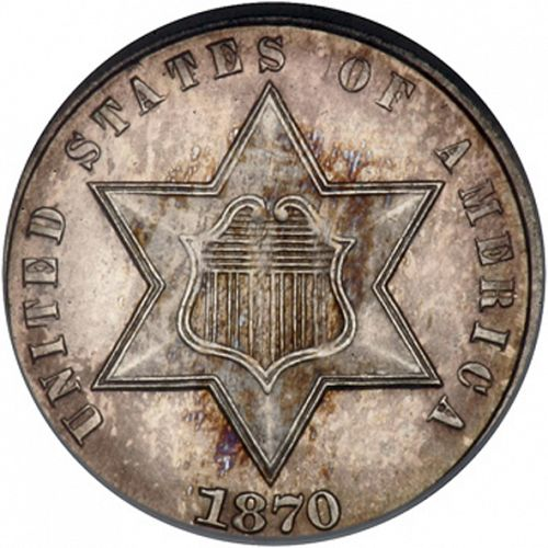 3 cent Obverse Image minted in UNITED STATES in 1870 (Type III)  - The Coin Database